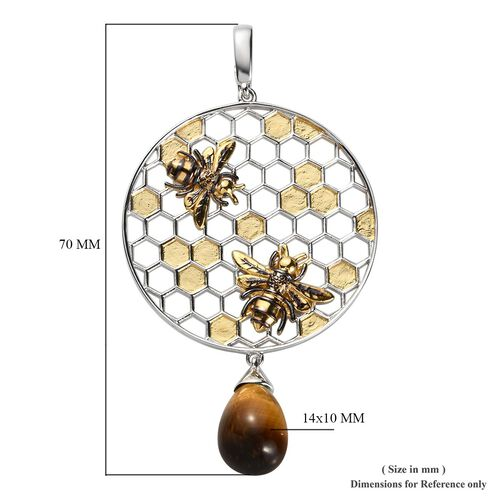 Sundays Child - Yellow Tiger Eye Honeycomb and Bee Pendant in Yellow Gold Overlay Sterling Silver 8.00 Ct, Silver wt. 10.00 Gms
