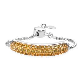 Yellow Diamond (Rnd) Bolo Ring in Platinum Overlay Sterling Silver 0.330 Ct.