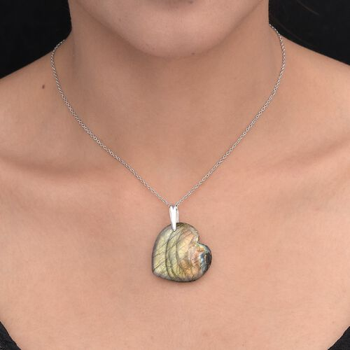 Labradorite Heart Pendant in Platinum Overlay Sterling Silver 49.00 Ct.