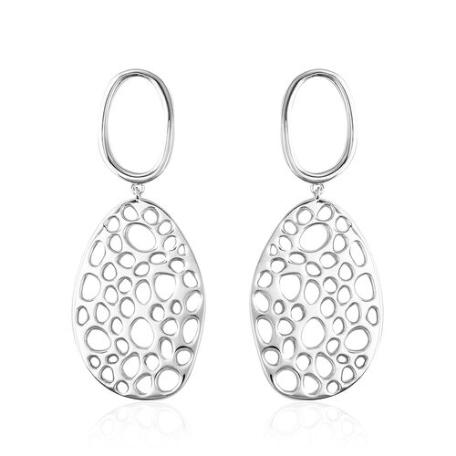 RACHEL GALLEY Rhodium Overlay Sterling Silver Lattice Drop Earrings (with Push Back), Silver wt 16.2