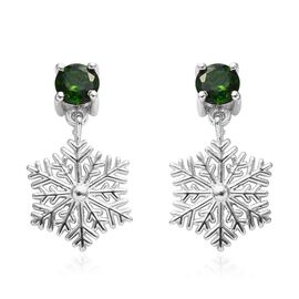 Russian Diopside (Rnd) Snowflake Design Earrings (with Push Back) in Platinum Overlay Sterling Silve