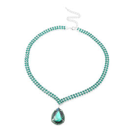 Simulated Emerald and Green Austrian Crystal Necklace (Size 19 with 4 inch Extender)