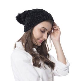 Super Soft Beanie Hat with Faux Fur Pom Pom (One size: 50x31cm) - Black