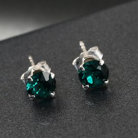 J Francis Crystal From Swarovski - Emerald Colour Crystal Stud Earrings (with Push Back) in Sterling Silver