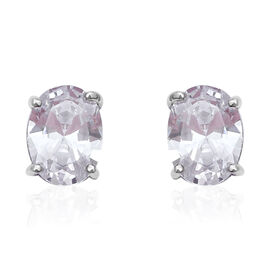 Simulated Diamond Solitaire Stud Earrings in Rhodium Plated Sterling Silver