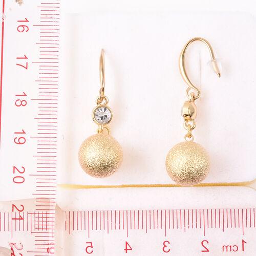 White Austrian Crystal Ball Drop Hook Earrings in Yellow Gold Tone