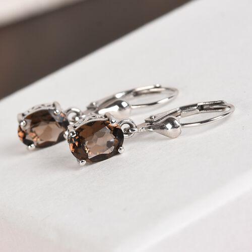 AA Brazilian Smoky Quartz (Ovl) Lever Back Earrings in Platinum Overlay Sterling Silver 2.250 Ct.