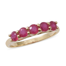 One Time Mega Deal- 9K Yellow Gold AAA Burmese Ruby (Rnd) Five Stone Ring 2.00  Ct.