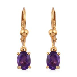 Amethyst (Ovl) Lever Back Earrings in 14K Gold Overlay Sterling Silver 1.500 Ct.