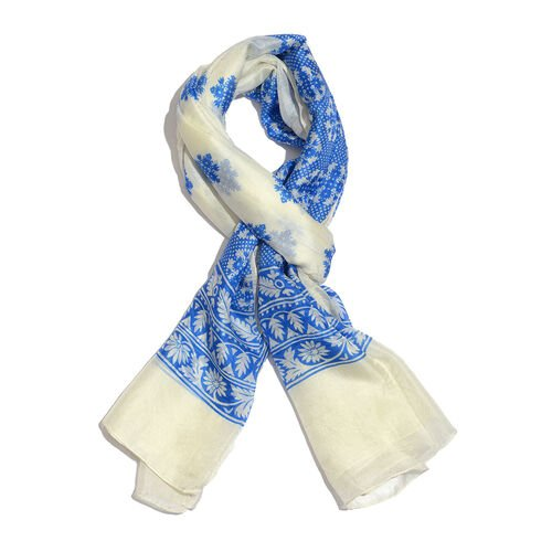 100% Mulberry Silk Nautical Blue and Cream Colour Foulard Printed Scarf (Size 180x100 Cm)