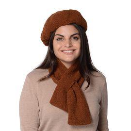 2 Piece Set - Faux Fur Winter Scarf (Size 13x92 Cm) and Hat (Size 56 Cm) - Brown