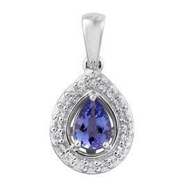 9K White Gold 1 Carat AA Tanzanite Pear Pendant with Natural Cambodian Zircon