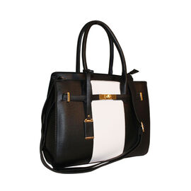 New Season Colour Blocking Handbag With Removable Strap Black and White
