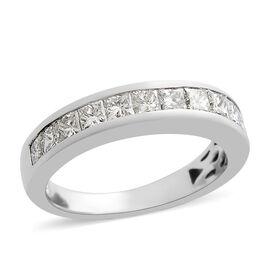 RHAPSODY 950 Platinum IGI Certified (VS/E-F) Diamond (Sqr) Half Eternity Band Ring 0.700 Ct.