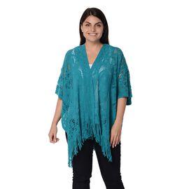 Knit Hollow Butterfly Pattern Kimono with Tassels (Size 85x65+14 Cm) - Green