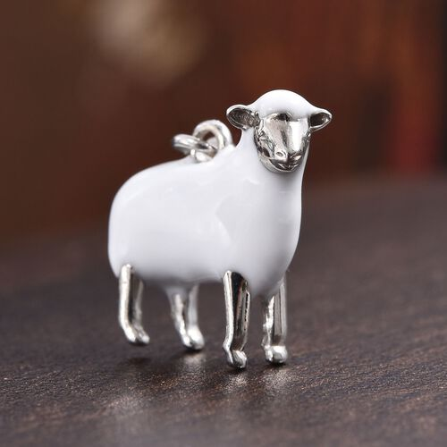 Platinum Overlay Sterling Silver Enamelled Sheep Charm
