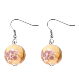 Champagne Colour Murano Glass Drop Hook Earrings in Stainless Steel