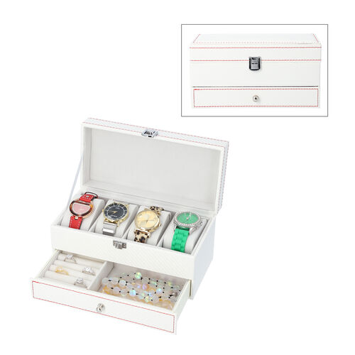 Two-Tier Jewellery Box with Padded Watch Slots (22.3x10.7x11cm) - White