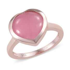 5.5 Ct Pink Jade Heart Solitaire Ring in Sterling Silver