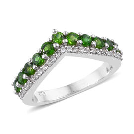 Russian Diopside (Rnd), Natural Cambodian Zircon Wishbone Ring in Platinum Overlay Sterling Silver 1