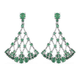 3.65 Ct Zambian Emerald Drop Earrings in Platinum Plated Sterling Silver 8.05 Grams With Push Back