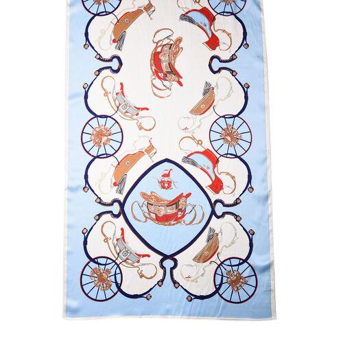 LA MAREY 100% Glossy Mulberry Silk Sleigh and Carriage Wheel Pattern Blue Scarf (175x52cm)