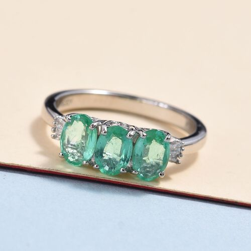 RHAPSODY 950 Platinum AAAA Colombian Emerald (Ovl 6x4mm) and Diamond (VS/E-F) Ring 1.35 Ct, Platinum wt 5.00 Gms.