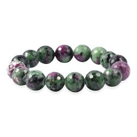 Super Auction- Collectors Edition Extremely Rare 100% Natural Ruby Zoisite (Rnd 11-13 mm) Sterchable Bracelet (Size 7) 300 Ct.
