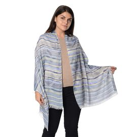 Blue and Multicolour Strip Pattern Scarf (Size 70x180 Cm)