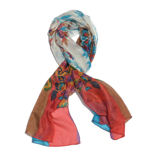 100% Mulberry Silk Red, Turquoise, White and Multi Colour Floral Hand Screen Printed Scarf (Size 180