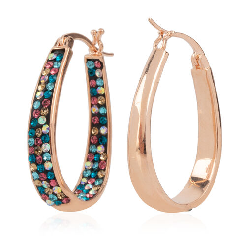 Multi Colour Austrian Crystal Earrings (with Clasp Lock) in Rose Gold Plated