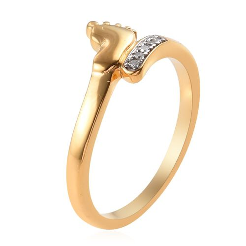 Diamond (Rnd) Baby Foot Bypass Ring in 14K Gold Overlay Sterling Silver