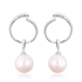 OTO - Edison Pearl (Rnd) Drop Earrings (with Clasp Lock) in Rhodium Overlay Sterling Silver