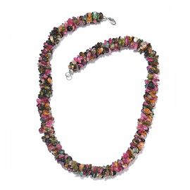 Multi-Tourmaline Necklace (Size 20) in Platinum Overlay Sterling Silver 404.20 Ct.