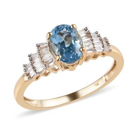 0.85 Ct AA Santa Maria Aquamarine and Diamond Ballerina Ring in 9K Yellow Gold 1.51 Grams