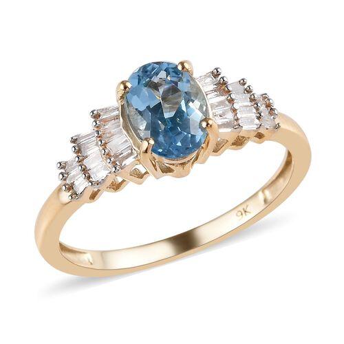 AA Santa Maria Aquamarine and Diamond Ballerina Ring in 9K Yellow Gold 1.51 Grams,0.85 Ct