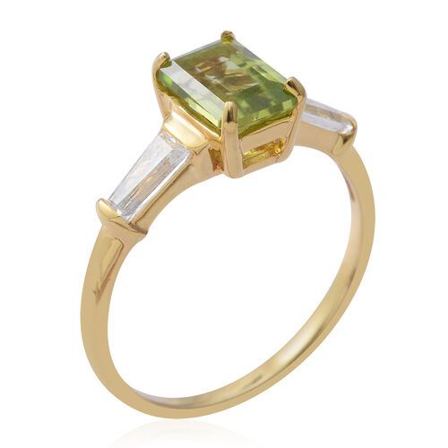 Rare Cut Hebei Peridot (Oct 1.75 Ct), White Topaz Ring in Yellow Gold Overlay Sterling Silver 1.97 Ct.