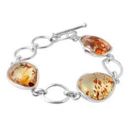 Super Auction- Extremely Rare AAA Champagne Baltic Amber Bracelet (Size 8.5 with Extender) in Sterli