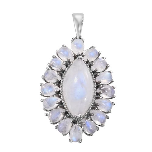 Sri Lankan Rainbow Moonstone (Mrq 7.75 Ct) Pendant in Platinum Overlay Sterling Silver 15.500 Ct. Silver wt 5.70 Gms.