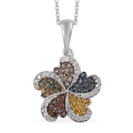 Designer Inspired - Multi Colour Diamond (Rnd) Pendant With Chain (Size 18) in Platinum Overlay Sterling Silver 0.500 Ct.