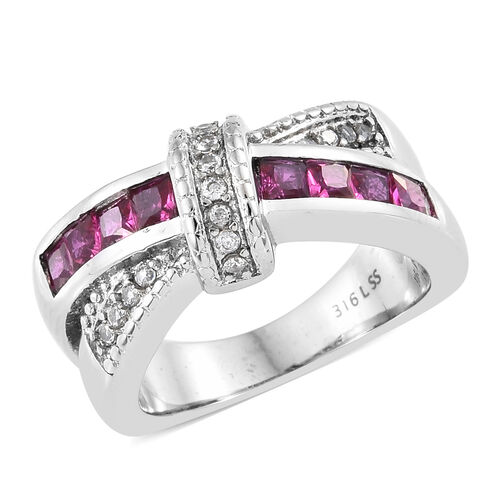 Simulated Ruby (Sqr), Simulated Diamond Criss Cross Ring in Ion Plated Stainless Steel 1.250 Ct.