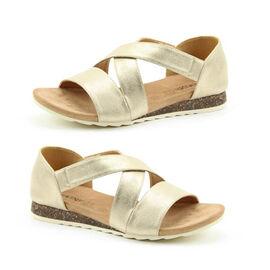 Heavenly Feet Estelle Womens Cross Sandal in Gold Colour