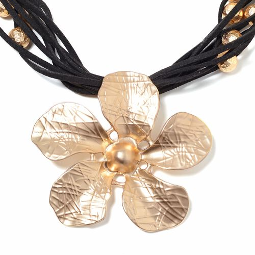 Multi Row Flower Necklace (Size 20 with 2.5 inch Extender) in Gold Plated