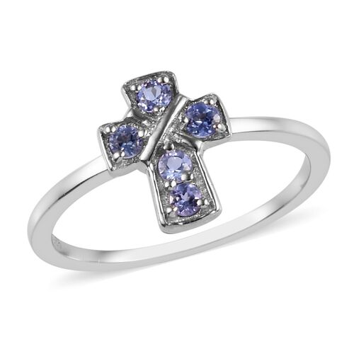 Tanzanite (Rnd) Cross Ring in Platinum Overlay Sterling Silver 0.25 Ct.