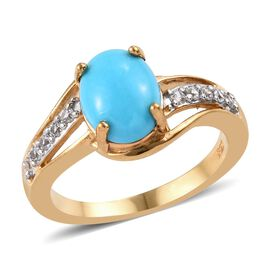 1.75 Ct Arizona Sleeping Beauty Turquoise and Zircon Solitaire Ring in Gold Plated Sterling Silver
