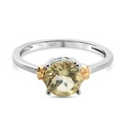 Lemon Quartz Solitaire Ring (Size N) in Platinum and Yellow Gold Overlay Sterling Silver 1.12 Ct.