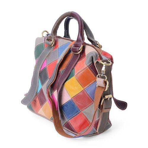 100% Genuine Leather Multi Colour Checks Pattern Tote Bag with External Zipper Pocket (Size 28.5x25x12 Cm)