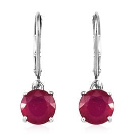 African Ruby (Rnd) Lever Back Earrings in Platinum Overlay Sterling Silver 4.000 Ct.