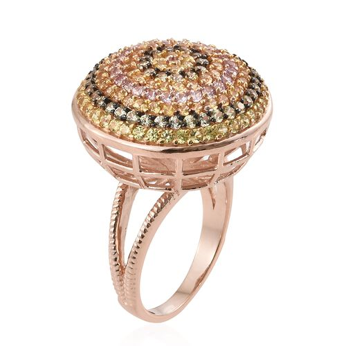 Designer Inspired-Rainbow Sapphire (Rnd) Cluster Ring in Rose Gold Overlay Sterling Silver 3.500 Ct. Silver wt 7.15 Gms. Number of Gemstone 166