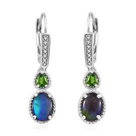 AA Canadian Ammolite (Ovl 8x6 mm), Russian Diopside Lever Back Earrings in Platinum Overlay Sterling